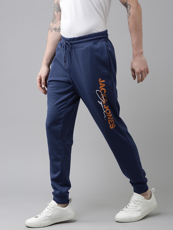 Jack   Jones Dark Blue Brand Logo Printed Track Pants