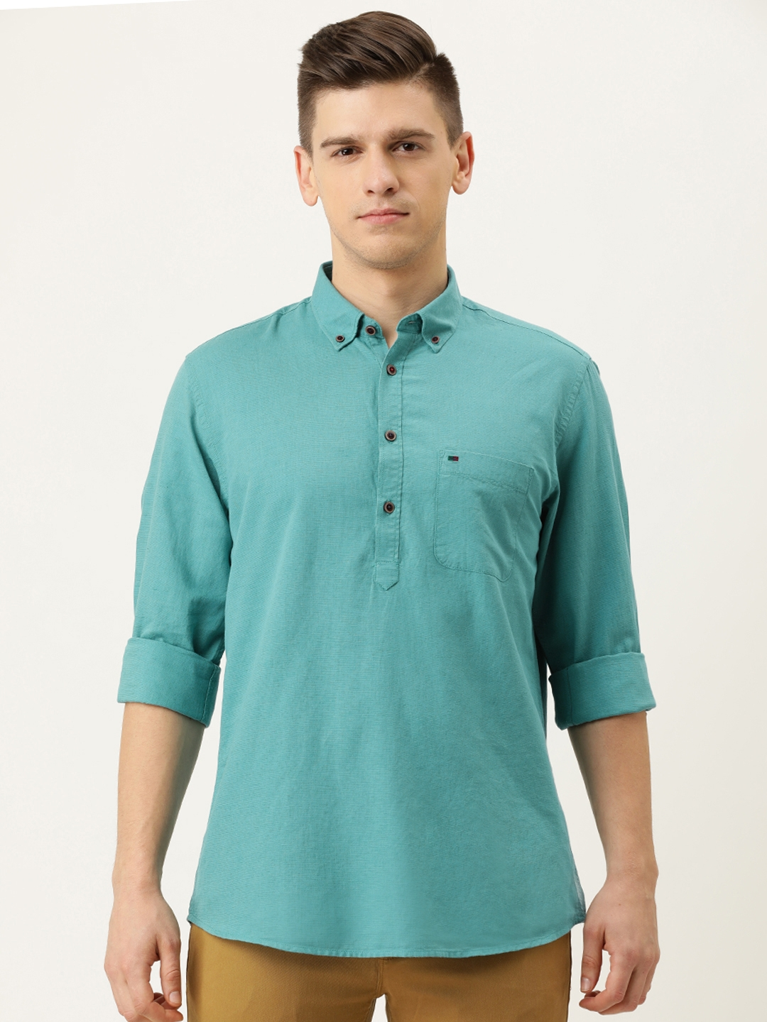 Peter England Casuals Men Blue Solid Slim Fit Casual Shirt