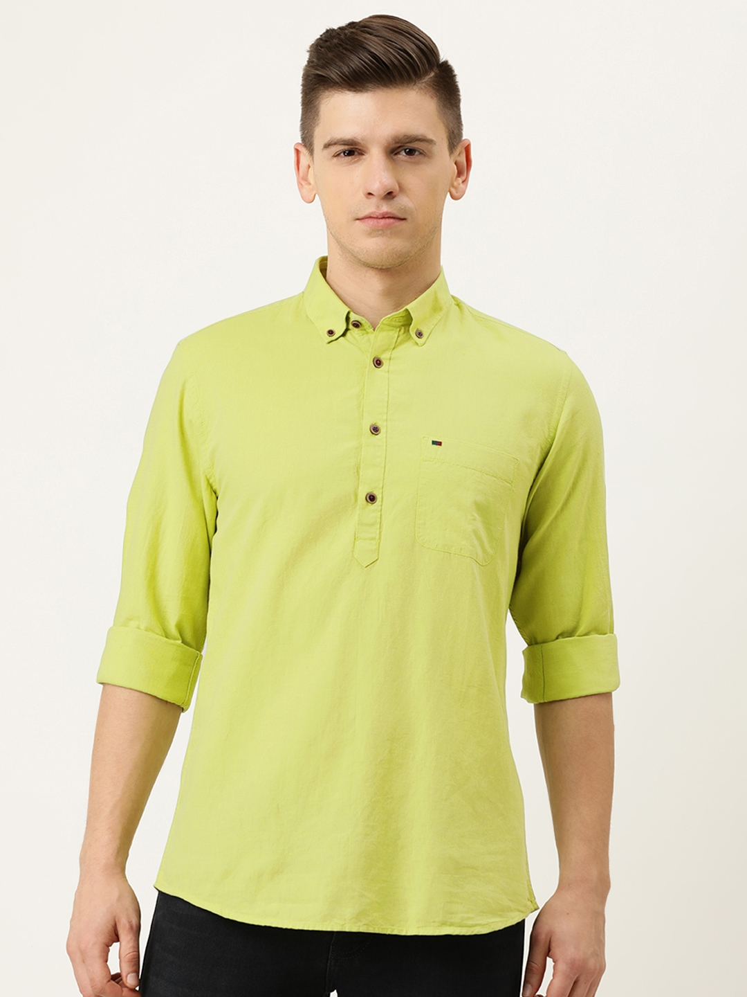 Peter England Casuals Men Green Solid Slim Fit Casual Shirt