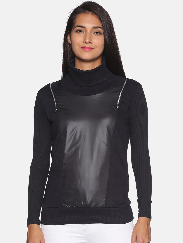 Campus Sutra Women Black Solid Full Sleeves Biker Jacket
