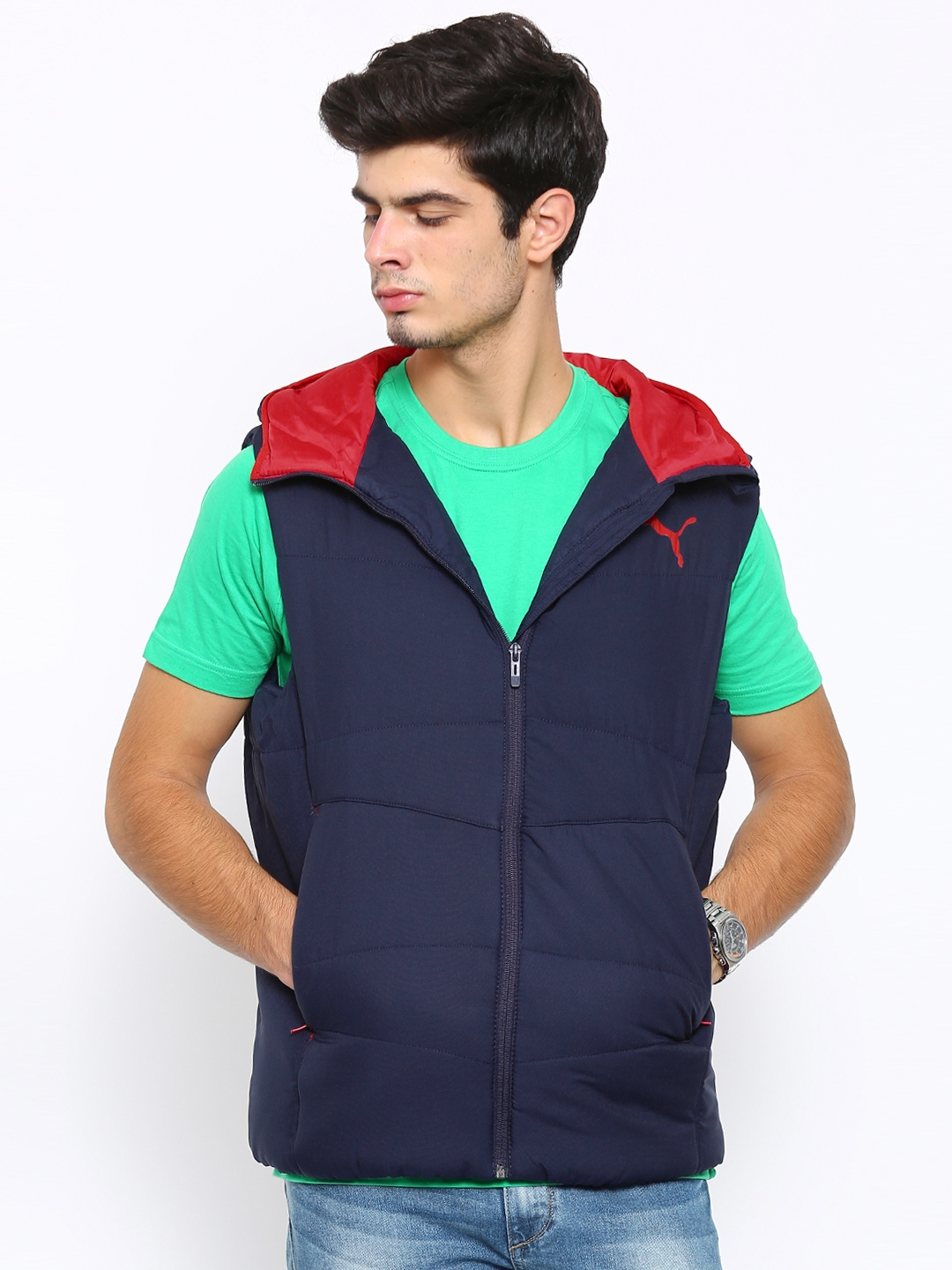56004bc27c2b Buy Puma Navy ESS Hooded Down Padded Sleeveless Jacket - Jackets for ...