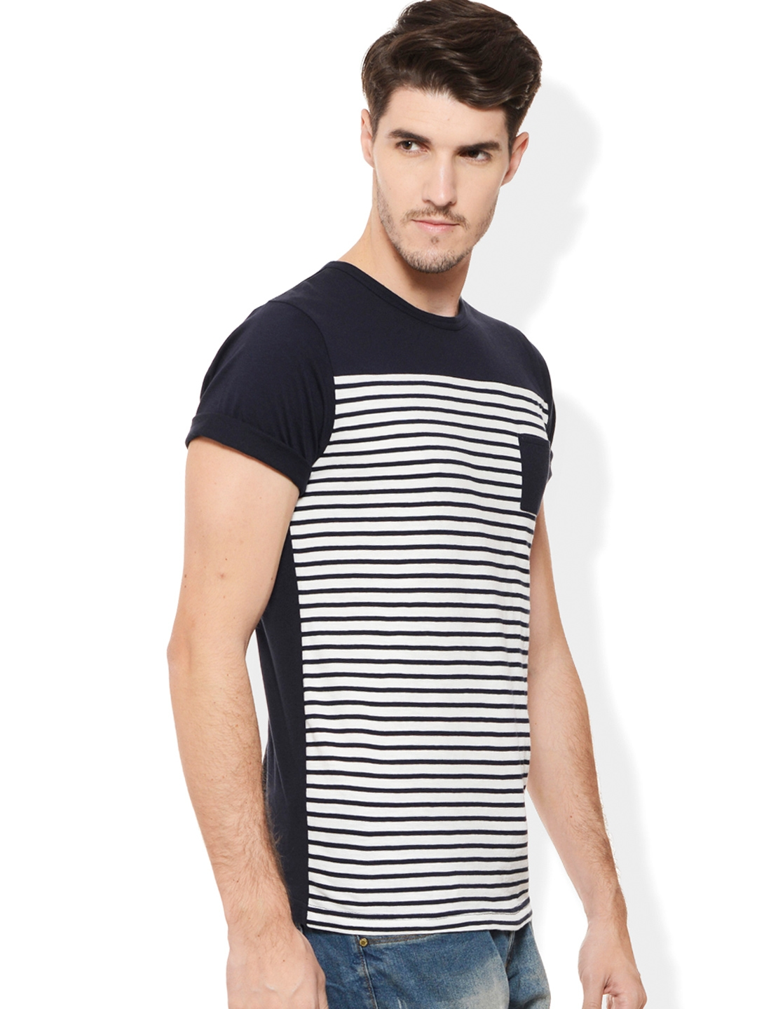 afafdf56b9c Buy Rigo Navy   White Striped Smart Fit T Shirt - Tshirts for Men ...