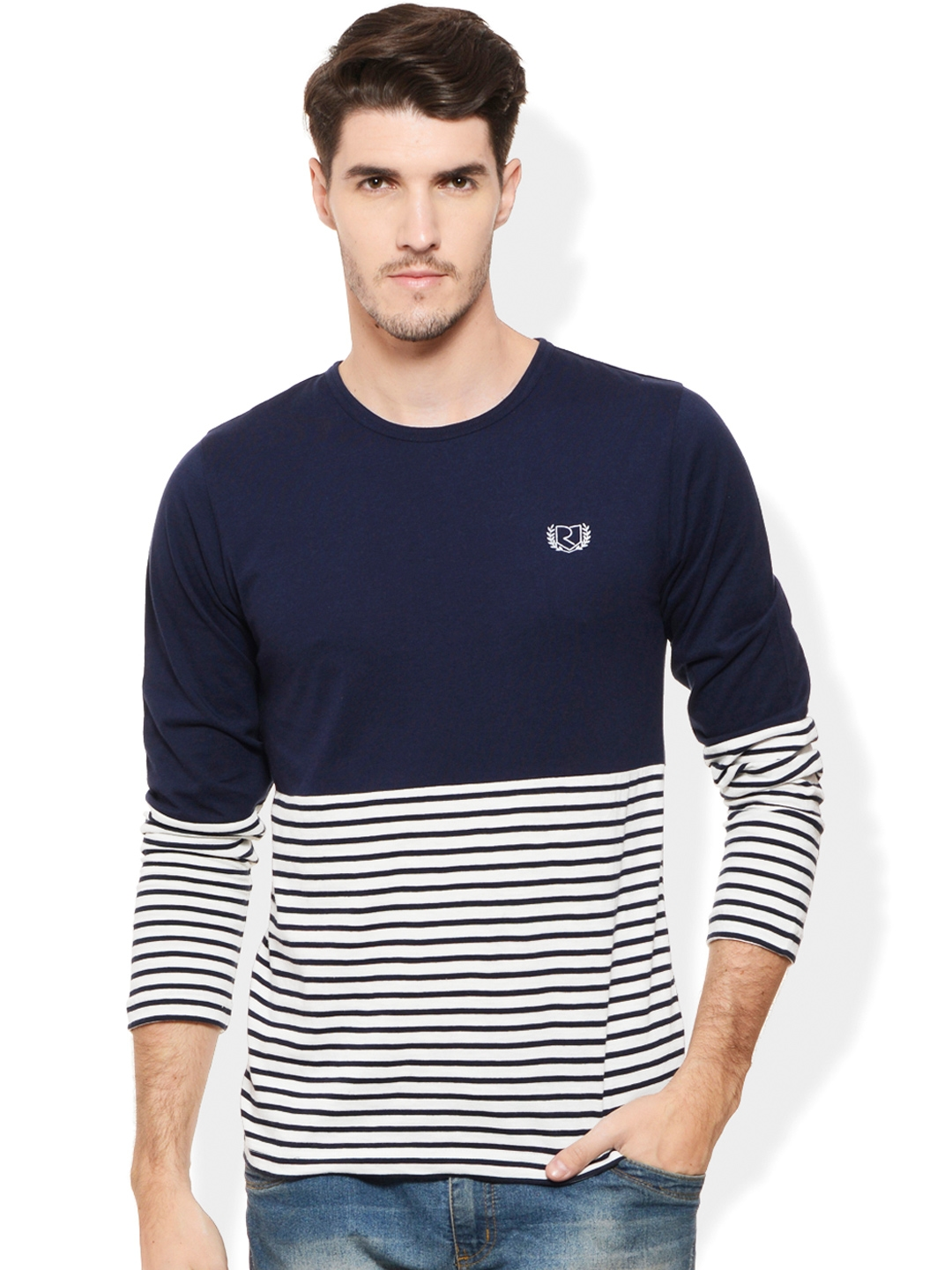 Buy rigo navy white striped smart fit t shirt tshirts for Mens full sleeve t shirts online