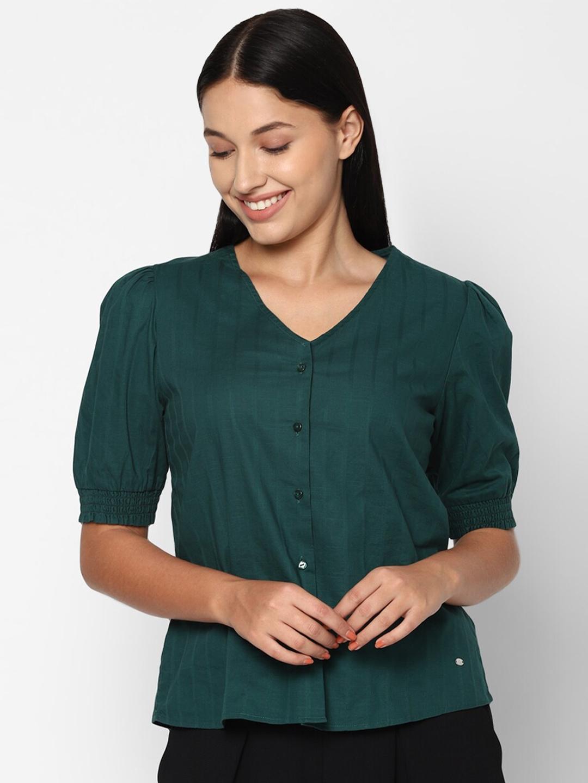 Allen Solly Woman Solid Green Puff Sleeve Regular Top
