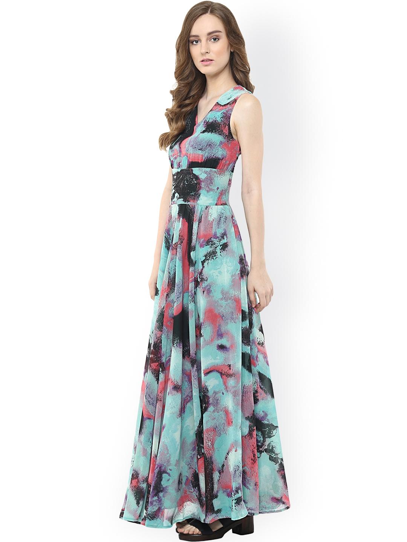 de232cfd0 Buy Harpa Women Blue Printed Georgette Maxi Dress - Dresses for ...