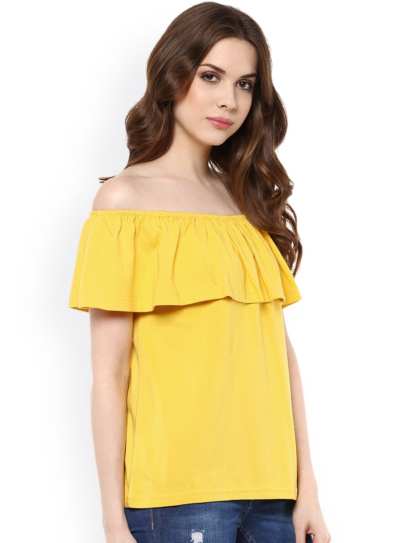 86e487672019ae Buy Harpa Women Yellow Solid Regular Top - Tops for Women 1485849 ...