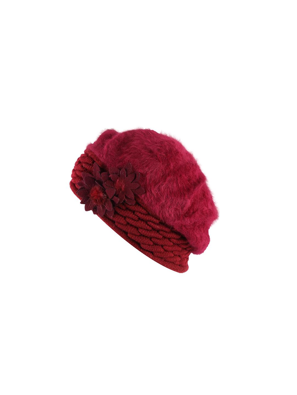 iSWEVEN Women Maroon Solid Woolen Visor Cap