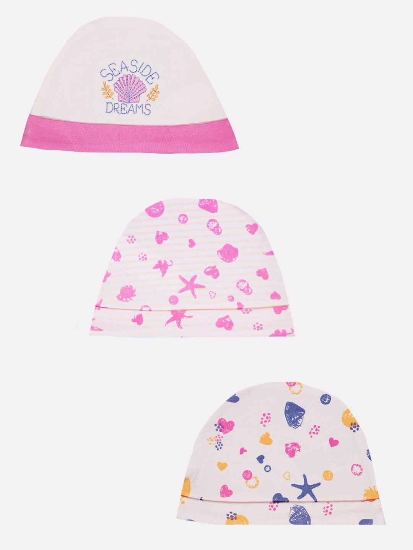 BABY GO Infant Girls Multi Coloured Caps   Pack of 3