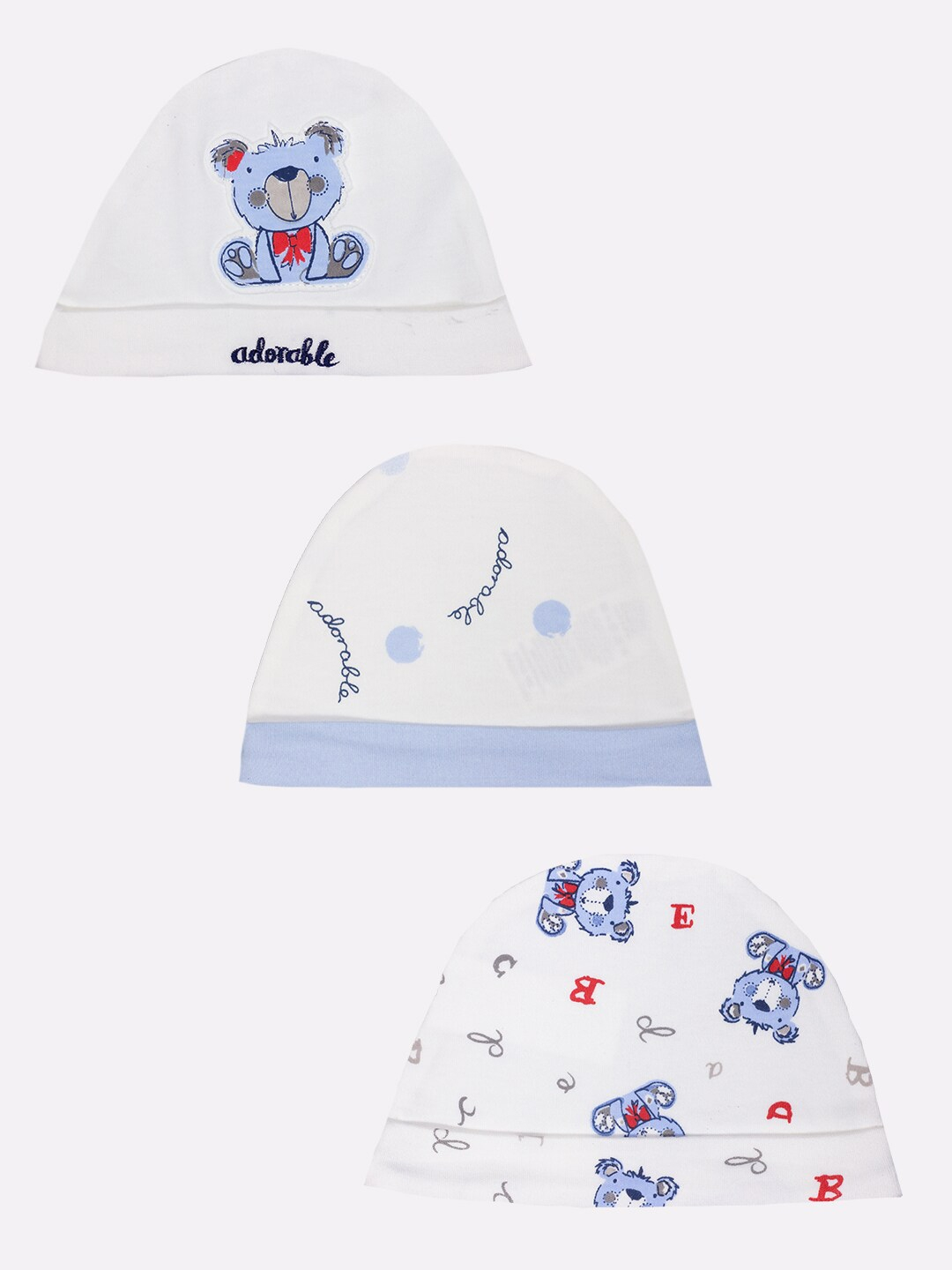 BABY GO Infants Multi Solid Multicolor Caps   Pack of 3
