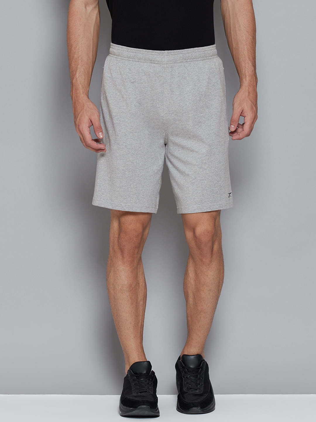 Reebok Men Grey Solid Pure Cotton Mid Rise Training or Gym Sports Shorts