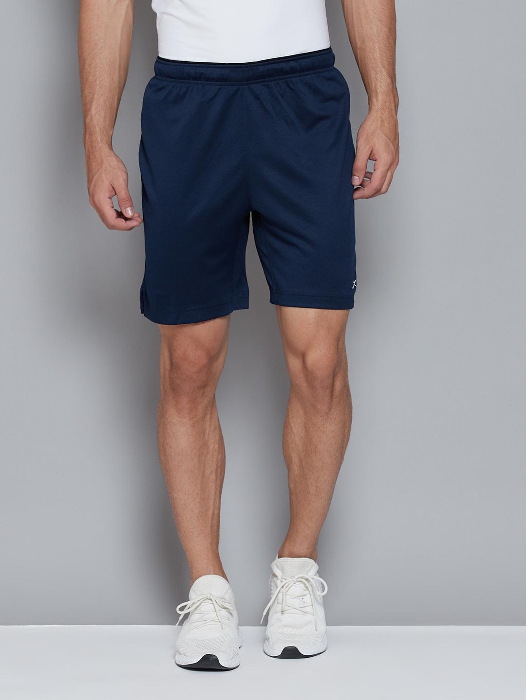 Reebok Men Navy Blue Mid Rise WORKOUT Speedwick Sports Shorts