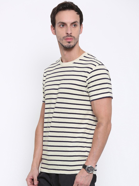 b490f904b9cb2 Buy Fox Men Off White Striped Round Neck T Shirt - Tshirts for Men ...