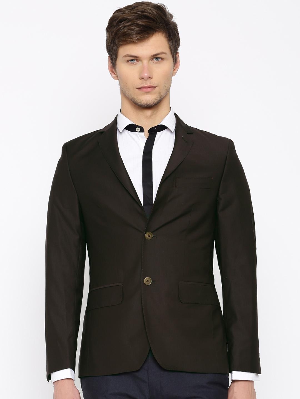 f7e79a603c6c Buy INVICTUS Coffee Brown Slim Fit Single Breasted Formal Blazer ...