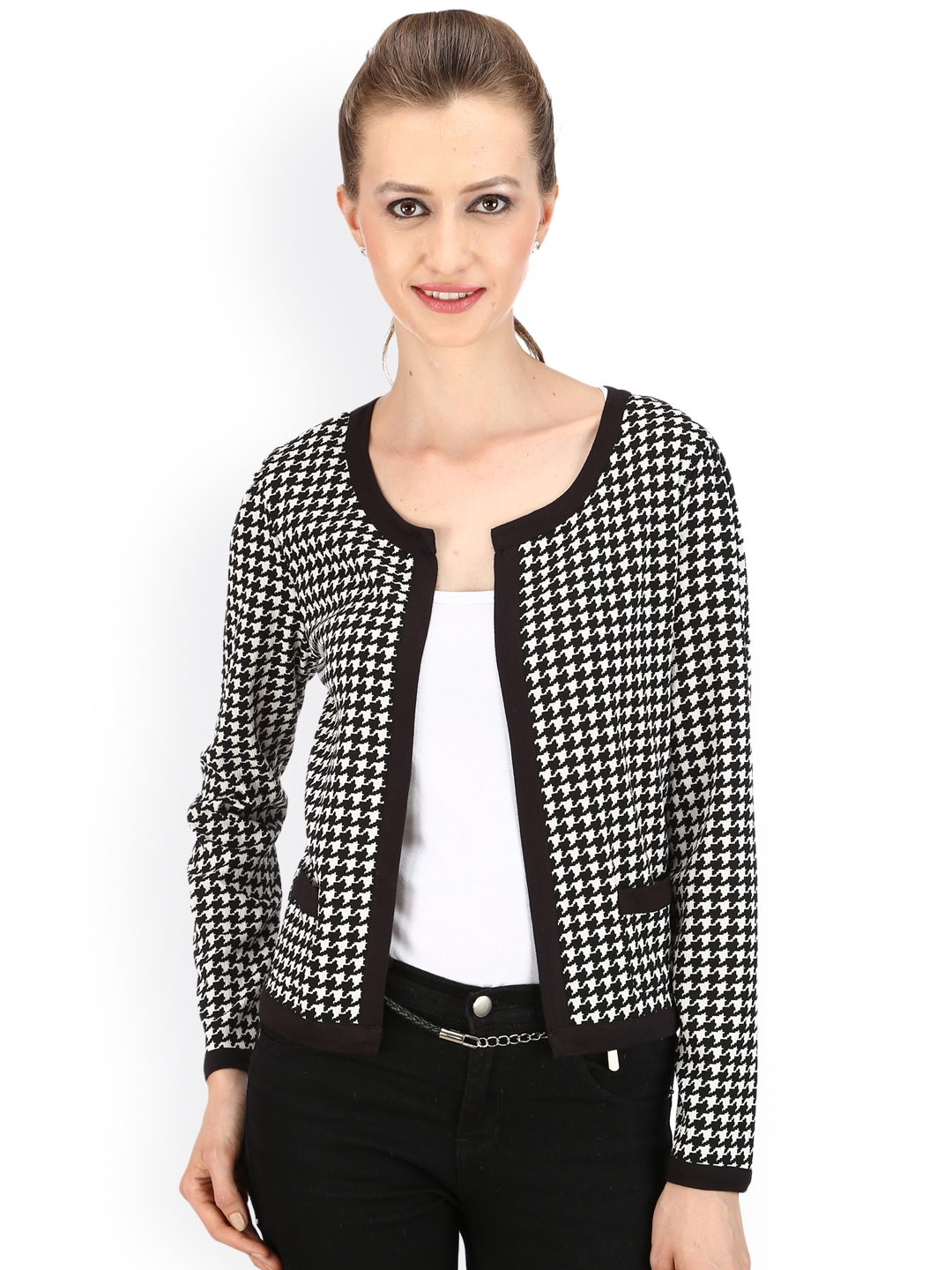 buy street 9 black houndstooth printed blazer blazers. Black Bedroom Furniture Sets. Home Design Ideas