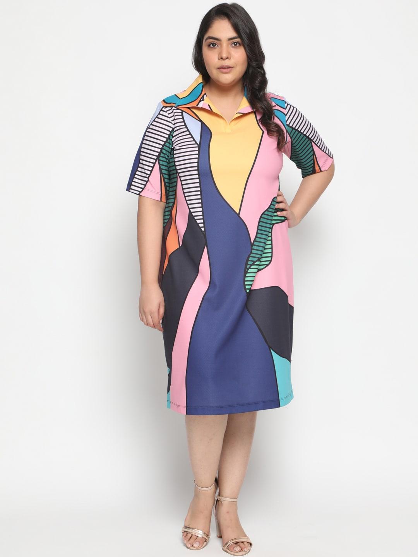 Amydus Women Multicolor Abstract Printed Shirt Dress