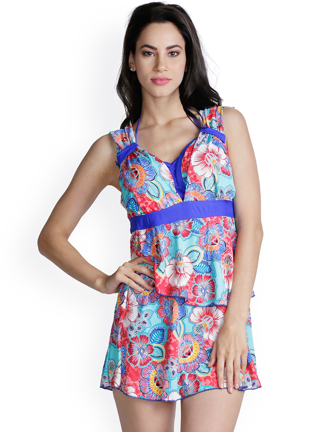 bc8f034c45293 Heart 2 Heart Turquoise Blue Floral Print Swimming Dress SW9014CALBL