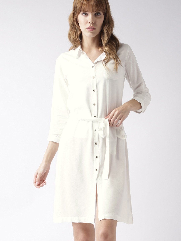 Buy Mstaken By Kriti Sanon Women White Solid Shirt Dress Dresses