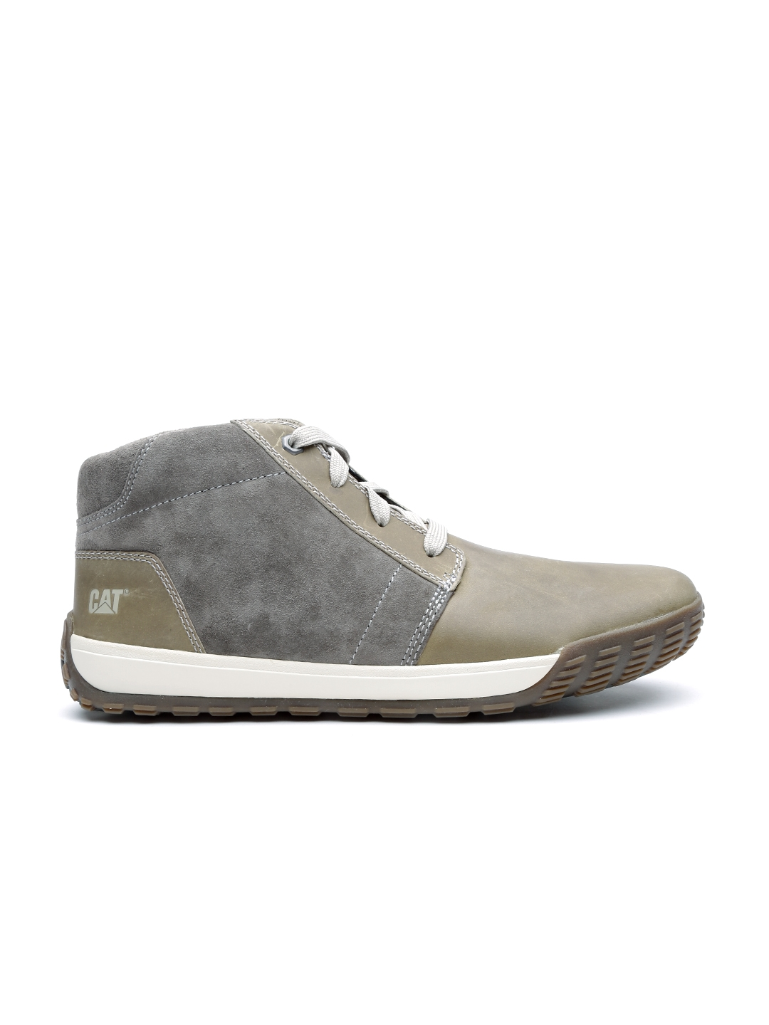 110963e9132 CAT Men Olive Green & Grey Pernell Wolverine Leather Casual Shoes