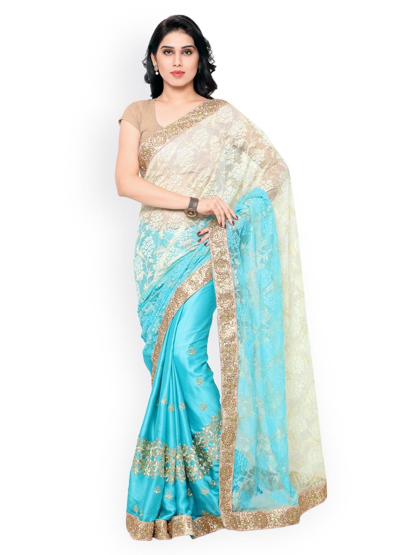 Cream-Coloured & Blue Jacquard & Satin Embroidered Lace Saree