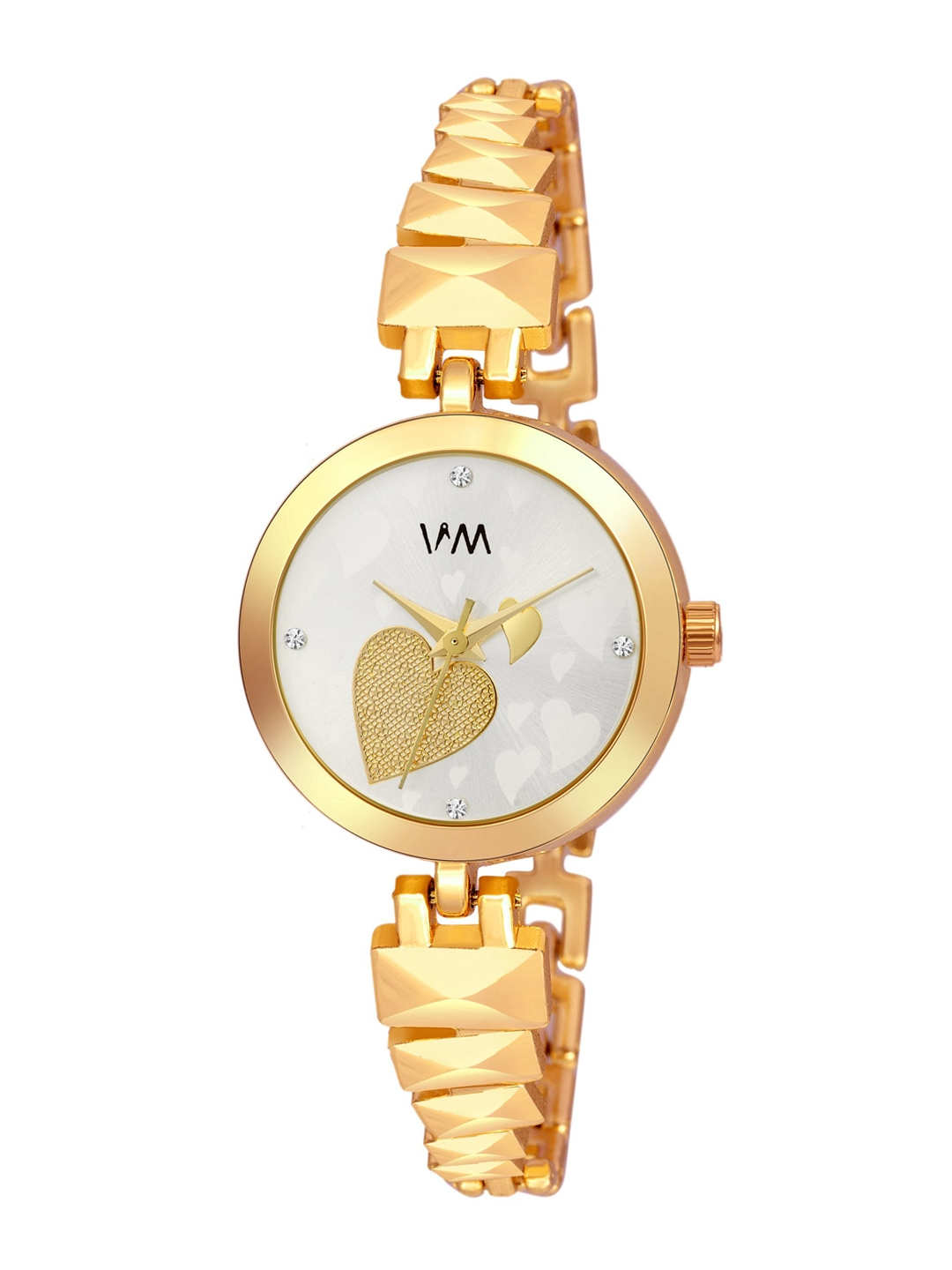Watch Me Women White Dial   Gold Toned Bracelet Style Straps Analogue Watches   PP 018