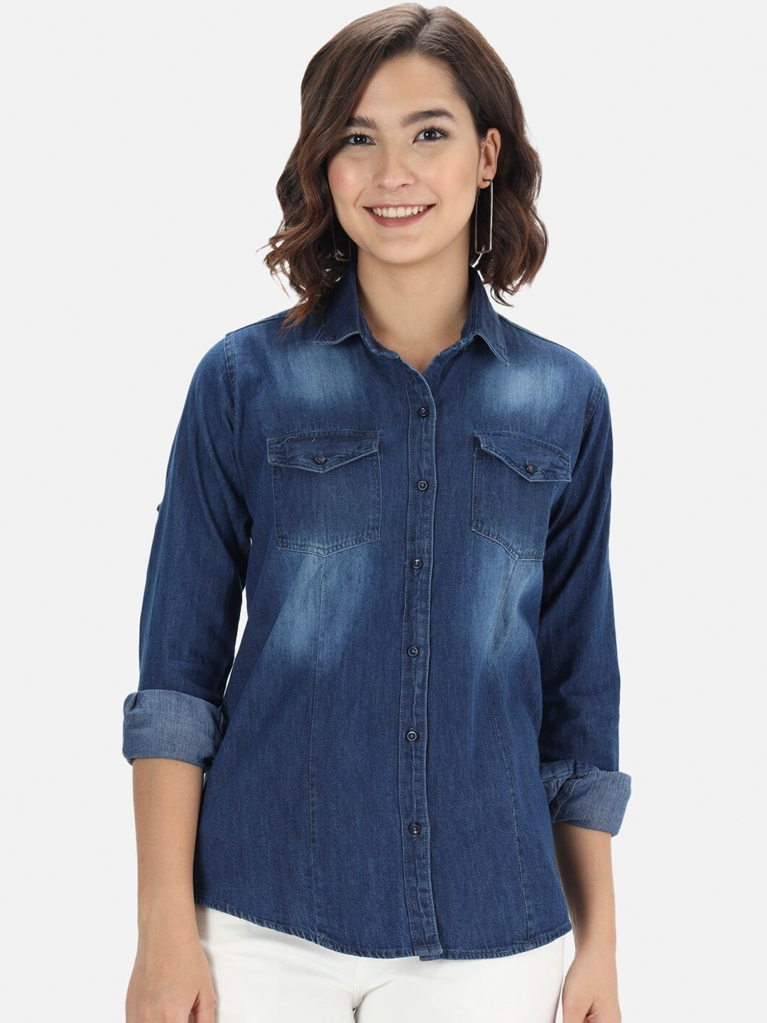 The Dry State Women Blue Denim Faded Casual Shirt