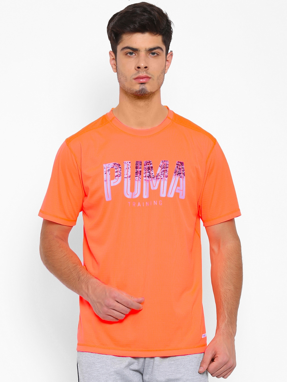 94f984fca Buy Puma Men Orange PWRCOOL Graphic Print Round Neck T Shirt ...