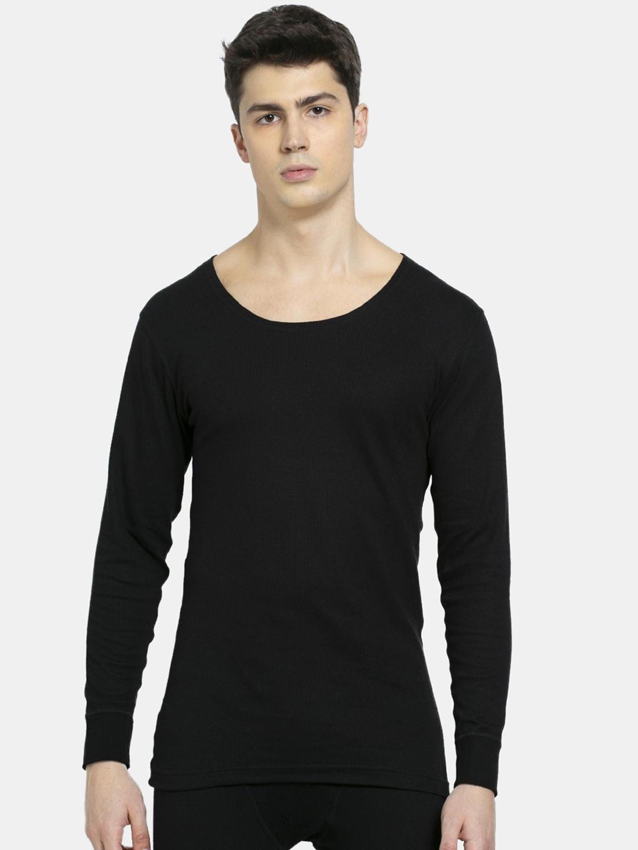 Jockey Men Black Solid Full Sleeve Thermal Top