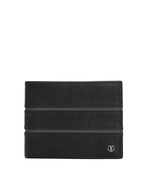 Titan Men Black Leather Two Fold Wallet