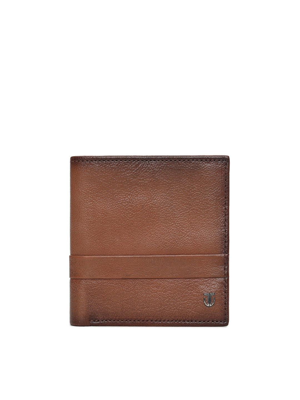 Titan Men Tan   Tan Self Design Leather Two Fold Wallet