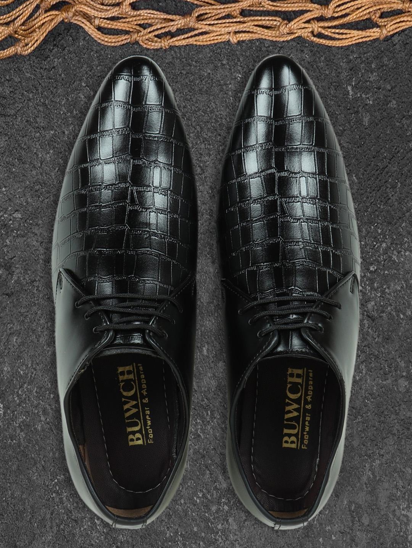 BUWCH Men Black Formal Derby Shoe