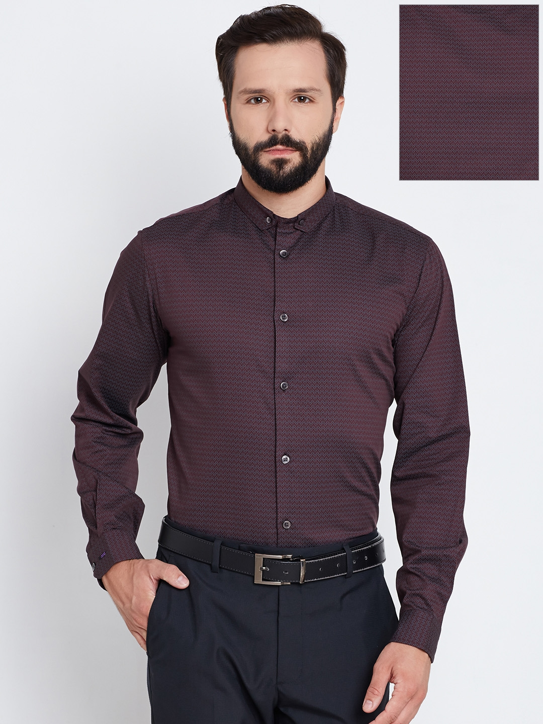 7d6680fe27f Buy Arrow New York Men Burgundy Slim Fit Printed Formal Shirt ...