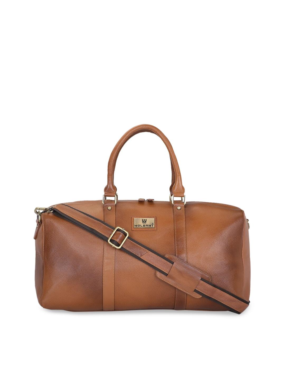 WELBAWT Unisex Tan Solid Leather Duffel Bag