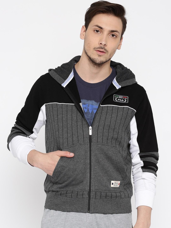 abf8a2cd231e Buy FILA Grey Melange & Black Beam Striped Hooded Sweatshirt ...