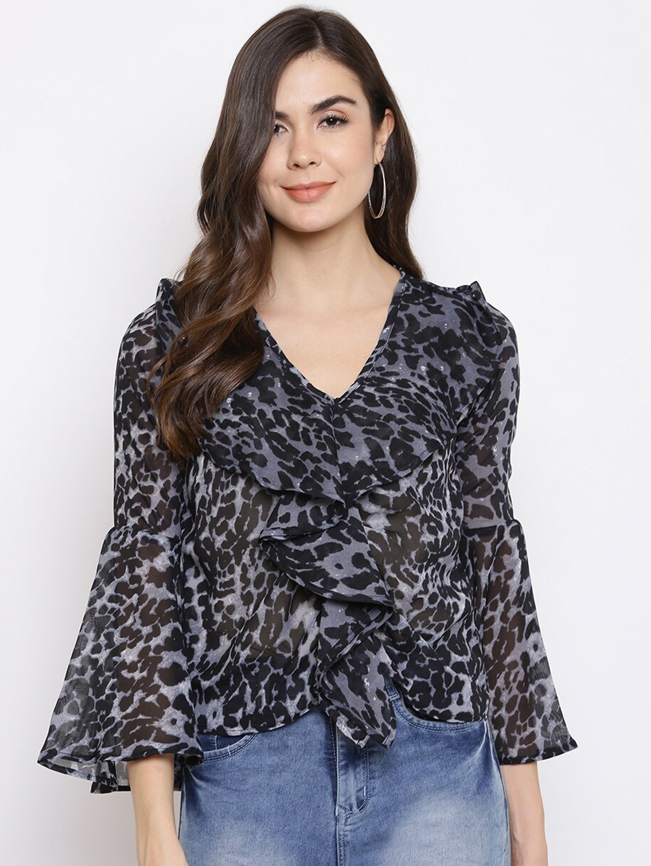 Mayra Women Grey Animal Printed Bell Sleeve Georgette Ruffle Top