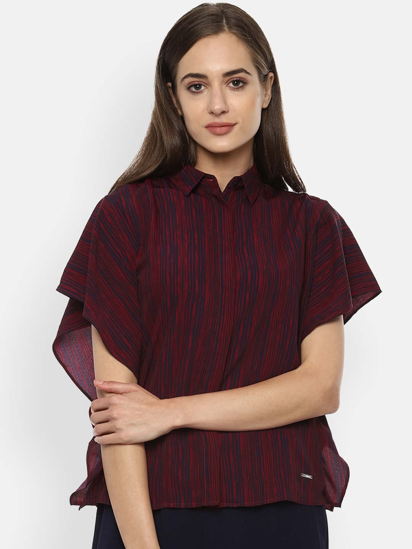 Van Heusen Woman Women Maroon Striped Extended Sleeve Casual Shirt