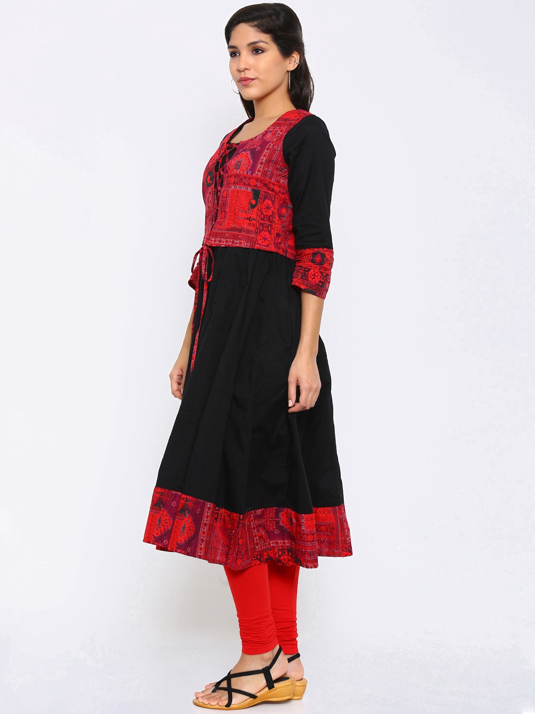 6997a3a88 Buy Vishudh Women Black   Red Anarkali Kurta With Jacket - Kurtas ...