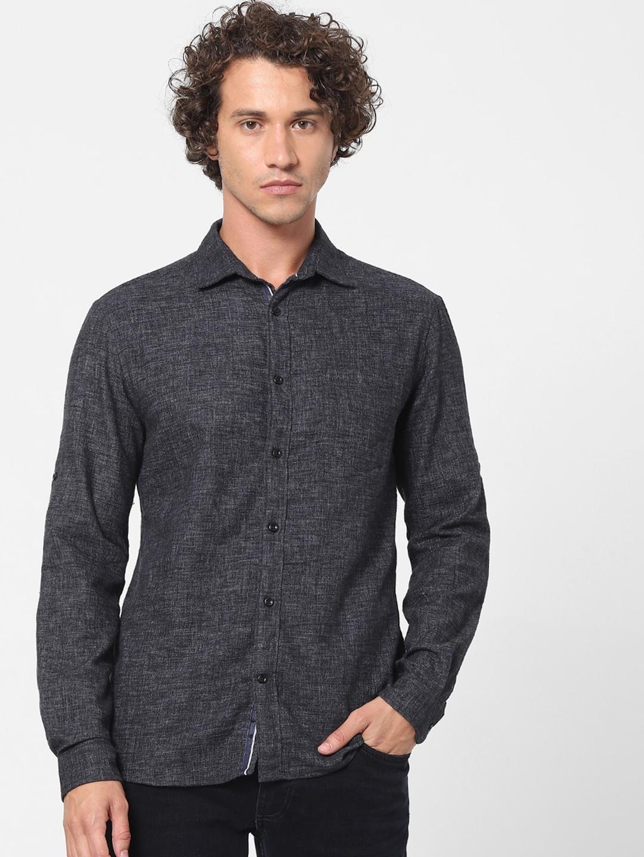 Celio Men Black Slim Fit Self Design Denim Casual Shirt