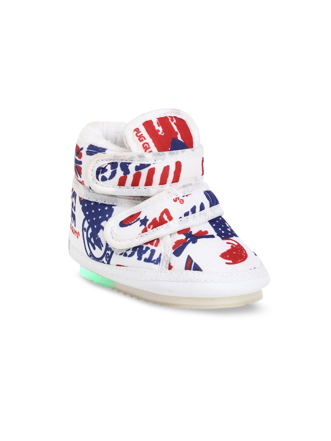 CHiU Kids White   Blue Printed Sneakers With LED Lights