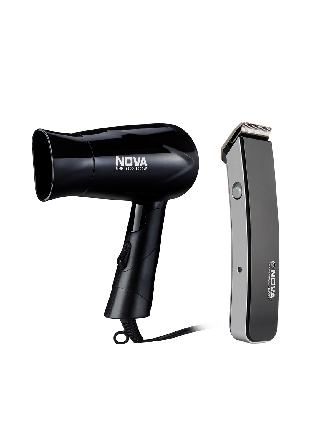 NOVA Men NHT 1045 Rechargeable Cordless Trimmer   NHP 8100 Hot   Cold Foldable Hair Dryer