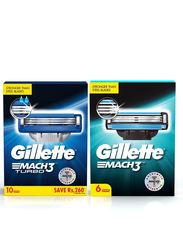 Gillette Men Set of 6 Mach 3 Shaving Blade Cartridges + Set of 10 Turbo Shaving Cartridges
