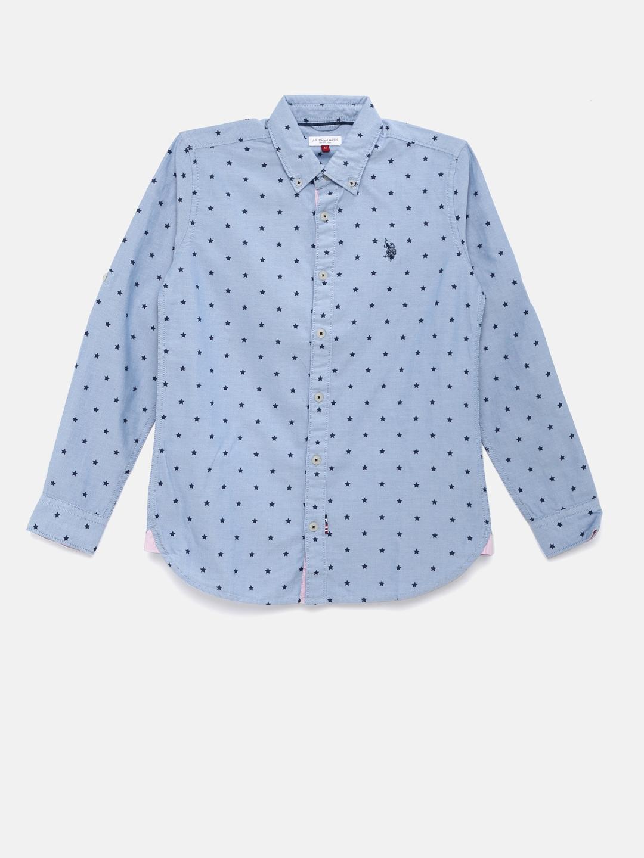 25b620c9 Buy U.S. Polo Assn. Kids Boys Blue Printed Casual Shirt - Shirts for ...