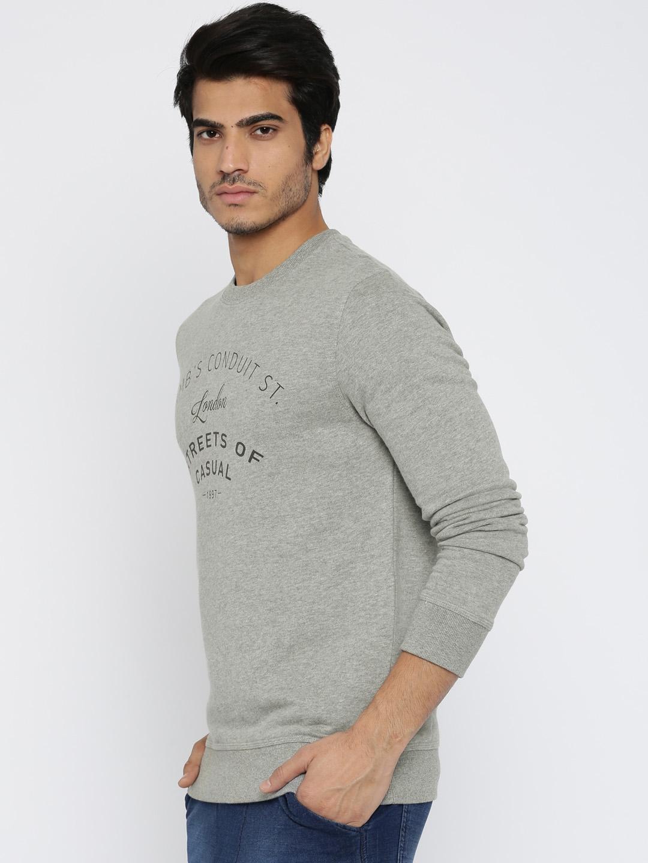 7b42178b82d Buy SELECTED Homme Heritage Grey Melange Printed Sweatshirt ...