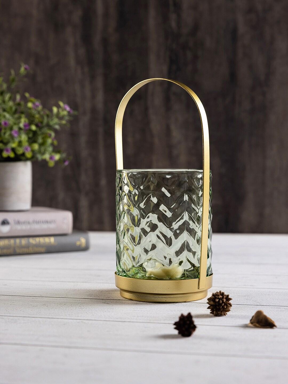 Pure Home and Living Transparent   Green Glass Mini Lantern