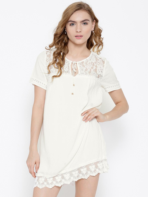 0fe15835337 Buy FOREVER 21 Women White Lace Detail Shift Dress - Dresses for ...