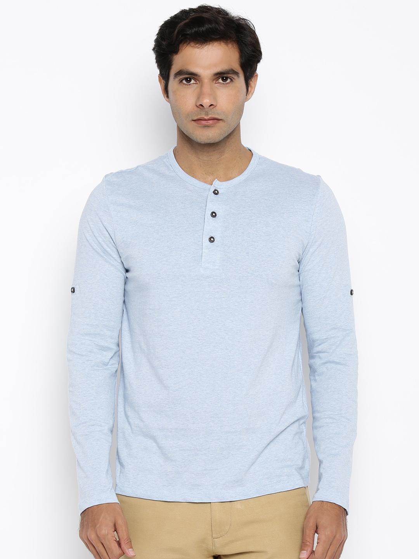add6230c Buy Celio Men Light Blue Henley T Shirt - Tshirts for Men 1509403 ...