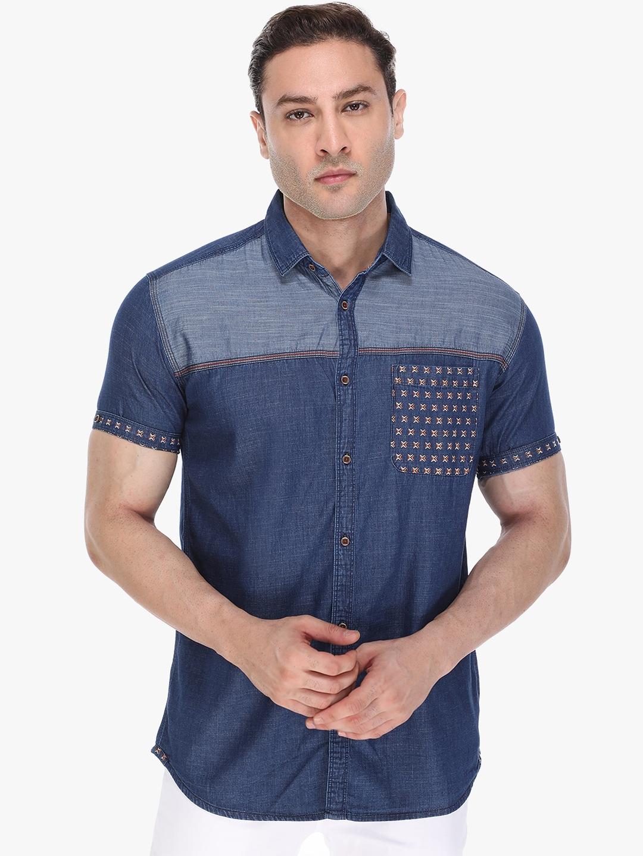 Kuons Avenue Men Blue Slim Fit Opaque Denim Shirt