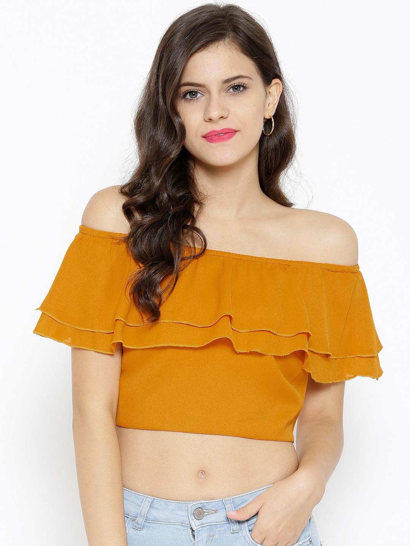 4fd7d6af727d2 Buy SASSAFRAS Mustard Yellow Off Shoulder Crop Top - Tops for Women ...