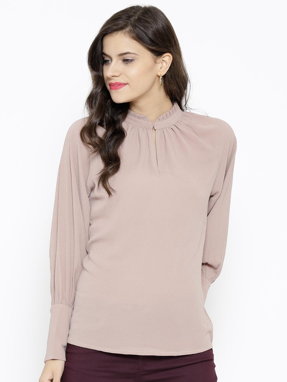 Buy SASSAFRAS Women Beige Georgette Textured Top