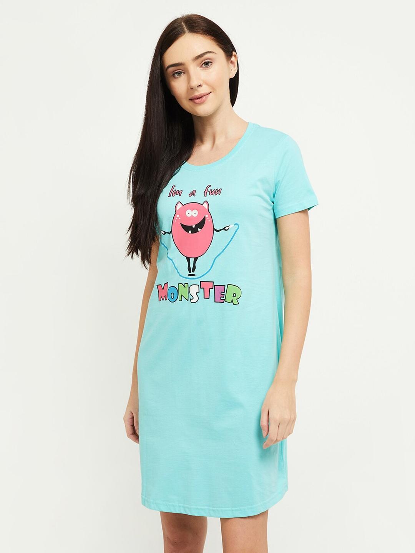 max Women Light Blue Graphic Printed Round Neck Sleep Shirts