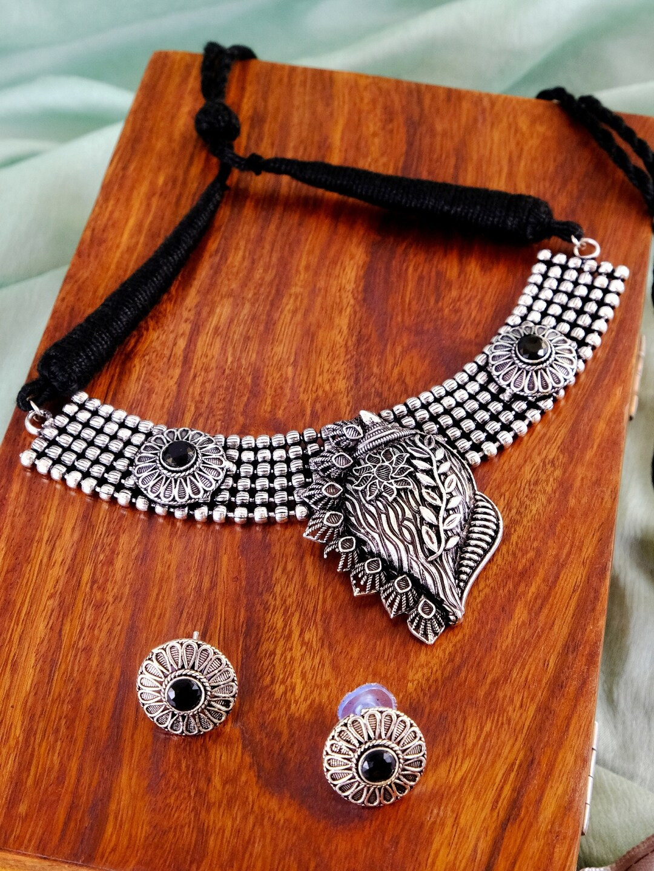 Crunchy Fashion Women Silver   Black Alloy Oxidized Antique Necklace   Earrings